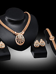 cheap -Women's Jewelry Set Bridal Jewelry Sets Geometrical Pear Fashion Gold Plated Earrings Jewelry Gold For Christmas Wedding Party Evening Gift Formal 1 set