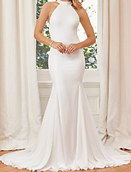 cheap -Mermaid / Trumpet Wedding Dresses Halter Neck Court Train Satin Sleeveless Simple Backless with 2021