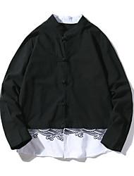 billige -Herre Skjorte Farveblok Toppe Basale Sort Grå