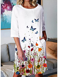 cheap -Women's Shift Dress Knee Length Dress Gray White 3/4 Length Sleeve Butterfly Floral Animal Print Summer Round Neck Hot Casual 2021 S M L XL XXL