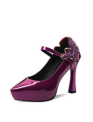 cheap -Women's Heels Pumps Pointed Toe Sexy Wedding Party & Evening Sequin Solid Colored Patent Leather Walking Shoes Black / Purple