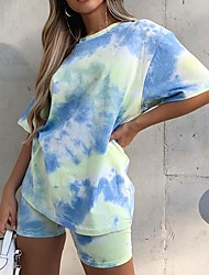 cheap -Women's Basic Tie Dye Two Piece Set Tracksuit Set Pant Loungewear Tops