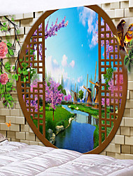 cheap -Window Landscape Wall Tapestry Art Decor Blanket Curtain Picnic Tablecloth Hanging Home Bedroom Living Room Dorm Decoration Polyester Chinese Style River Garden Flower Animal