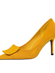 cheap -Women's Heels Stiletto Heel Pointed Toe Sexy Party & Evening Suede Solid Colored Almond Black Yellow / 3-4