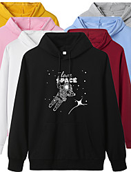 cheap -Women's Hoodie Cartoon Hoodie Stars Letter Printed Sport Athleisure Pullover Long Sleeve Warm Soft Oversized Comfortable Everyday Use Exercising General Use