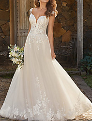 cheap -A-Line Wedding Dresses V Neck Chapel Train Lace Tulle Sleeveless Country with 2020