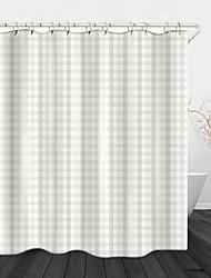 cheap -Simple Striped lattice Digital Printing Shower Curtain English Green Leaf Digital Printing Shower Curtain Shower Curtains & Hooks Modern Polyester New Design