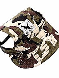 cheap -dog pet cat canvas oxford fabric hat sports baseball cap ear holes sunhat with adjustable neck elastic leather rope strap camouflage