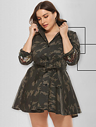 cheap -Women's A-Line Dress Short Mini Dress - Long Sleeve Print Sequins Patchwork Button Fall Shirt Collar Sexy Loose 2020 Army Green XL XXL 3XL 4XL 5XL