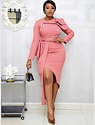 cheap -Women's Sheath Dress Midi Dress - Long Sleeve Solid Color Patchwork Summer Casual Holiday Slim 2020 Black Yellow Blushing Pink Brown M L XL XXL