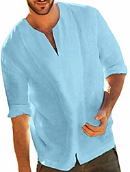 cheap -Men's Shirt Solid Color Classic Style Short Sleeve Vacation Tops Light Blue White Black