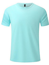 cheap -Men's Sports T-shirt Solid Color Tops 100% Cotton Holiday Round Neck Lake blue Navy Kong Lan