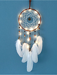 cheap -LED Lights Wind Chime Dreamcatcher Net With Feathers Bead Wedding Party Decoration Dream Catcher Wall Hanging Home Car Ornament Gift