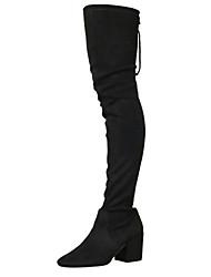 povoljno -Žene Čizme Kubanska potpetica Trg Toe Ležerne prilike Osnovni Dnevno Jednobojni Pamuk Čizme preko koljena Hodanje Nude / Crn / Burgundac