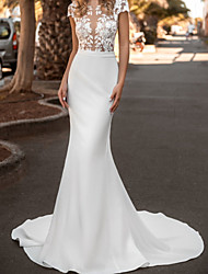 cheap -Mermaid / Trumpet Wedding Dresses Jewel Neck Court Train Lace Satin Sleeveless Country with Appliques 2020