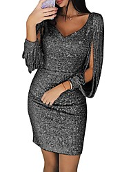 cheap -Sheath / Column Hot Sexy Party Wear Cocktail Party Dress V Neck Long Sleeve Short / Mini Sequined with Tassel 2021