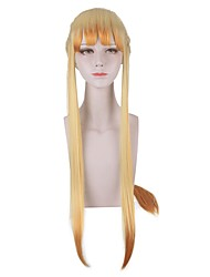 cheap -Cosplay Costume Wig Cosplay Wig Agatsuma Zenitsu Demon Slayer Natural Straight With Bangs With Ponytail Wig Long Yellow Synthetic Hair 30 inch Women's Cute Cosplay Party Yellow / Ombre Hair