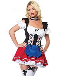 رخيصةأون -مهرجان أكتوبرفست Trachtenkleider نسائي فستان Neckwear البافارية كوستيوم أحمر