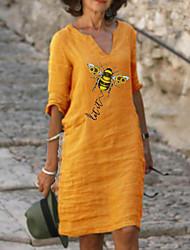 cheap -Women's A-Line Dress Knee Length Dress - Half Sleeve Animal Print Summer V Neck Casual Loose 2020 Red Yellow Light Green Light Blue S M L XL XXL 3XL 4XL 5XL