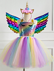 cheap -Kids Girls' Vintage Sophisticated Unicorn Rainbow Patchwork Halloween Sequins Mesh Patchwork Sleeveless Knee-length Dress Blue