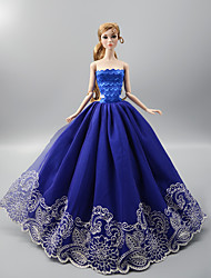 cheap -Wedding Dress Party / Evening Wedding Ball Gown Tulle Lace Satin For 11.5 Inch Doll Handmade Toy for Girl's Birthday Gifts  Doll Not Included
