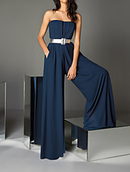 cheap -Jumpsuits Sexy Wedding Guest Formal Evening Dress Strapless Sleeveless Floor Length Chiffon with Sash / Ribbon 2021