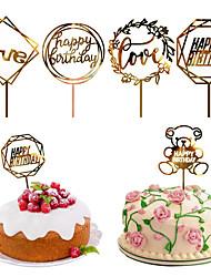 cheap -2/10Pcs Acrylic Hot Stamping Insert Happy Birthday Cake Insert Cake Decoration Party Decoration Birthday Celebration Festival Supplies