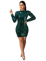cheap -Sheath / Column Sexy Sparkle Homecoming Cocktail Party Dress High Neck Long Sleeve Short / Mini Sequined with Sequin 2020