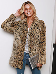 cheap -Women's Turtleneck Faux Fur Coat Maxi Leopard Print Daily Brown S M L XL / Going out