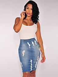 cheap -Women's Daily Wear Sexy Denim Bodycon Skirts Solid Colored Cut Out Blue / Slim