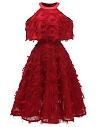 cheap -Women's A Line Dress Knee Length Dress White Blushing Pink Wine Sleeveless Solid Color Tassel Fringe Summer Halter Neck Hot Casual 2021 S M L XL XXL