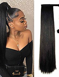 cheap -natural black yaki straight long clip in ponytail hair extensions kanekalon wrap around synthetic fake pony tail hairpieces heat resistant fiber wave ponytail extensions for women 120g 26inch