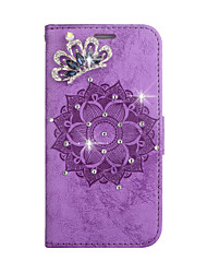 cheap -Case For LG k7 k8 k10 g3 g4 Card Holder Rhinestone Magnetic Full Body Cases Solid Colored Flower PU Leather TPU