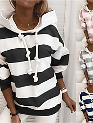 cheap -Women's Hoodie Pullover Side-Stripe Oversized Hoodie Stripes Cute Sport Athleisure Hoodie Top Long Sleeve Warm Soft Comfortable Everyday Use Causal Exercising General Use / Winter
