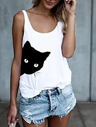 cheap -Women's Tank Top Vest T shirt Cat Print Round Neck Basic Tops White