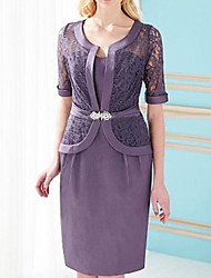 cheap -Two Piece Sheath / Column Mother of the Bride Dress Elegant Sweetheart Neckline Knee Length Lace Satin Half Sleeve with Sash / Ribbon 2021
