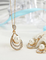 cheap -Women's Jewelry Set Bridal Jewelry Sets Hollow Out Pear Fashion Imitation Pearl Silver Plated Gold Plated Earrings Jewelry Gold / Silver For Christmas Wedding Party Evening Gift Formal 1 set