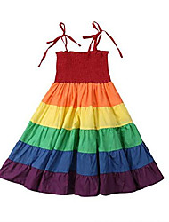 cheap -kids baby girl rainbow dress striped adjustable shouder strap loose fit maxi dresses casual beach dress (2-3years, a)