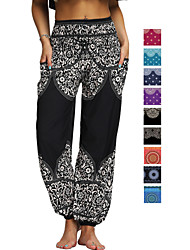 cheap -Women's High Waist Yoga Pants Side Pockets Harem Bloomers Breathable Quick Dry Moisture Wicking Bohemian Hippie Black Purple Red Winter Sports Activewear Stretchy Loose