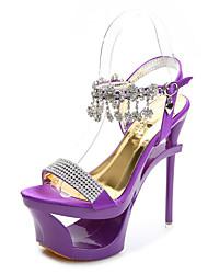 cheap -Women's Dance Shoes Pole Dancing Shoes Heel Sparkling Glitter Buckle Slim High Heel Black Purple Almond Buckle