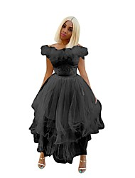 cheap -A-Line Flirty Minimalist Wedding Guest Cocktail Party Dress Off Shoulder Short Sleeve Ankle Length Tulle with Lace Insert 2020