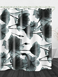cheap -Watermark Flowers Digital Print Waterproof Fabric Shower Curtain For Bathroom Home Decor Covered Bathtub Curtains Liner Includes With Hooks