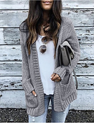 cheap -Women's Stylish Knitted Solid Color Plain Cardigan Acrylic Fibers Long Sleeve Sweater Cardigans Open Front Fall Winter Black Blushing Pink Light gray