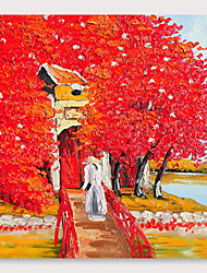 cheap -IARTS®Hand Painted Red leaf house Oil Painting   with Stretched Frame For Home Decoration