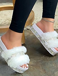 cheap -Women's Slippers & Flip-Flops Fuzzy Slippers Outdoor Slippers Flat Heel Open Toe Casual Daily PU Rhinestone Solid Colored White Black Pink