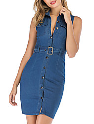 cheap -Women's Denim Dress Short Mini Dress - Sleeveless Solid Color Button Summer Shirt Collar Sexy 2020 Blue S M L XL XXL