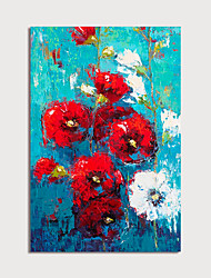 cheap -Oil Painting Paint Handmade Abstract Red Flowers Canvas Art Modern Art with Stretcher Ready to Hang With Stretched Frame
