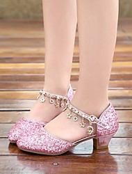 cheap -Girls' Sandals Flower Girl Shoes Princess Shoes PU Sequins Little Kids(4-7ys) Daily Walking Shoes Crystal Pink Silver Summer