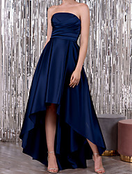 cheap -A-Line Minimalist Elegant Wedding Guest Formal Evening Dress Strapless Sleeveless Asymmetrical Satin with Ruched 2021