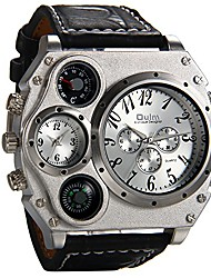 cheap -oulm mens big face watch, dual time zone leather strap sport watch, analog quartz wrist watch with decorative compass thermometer dial